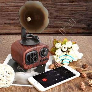 Ретро-колонка Граммофон (FM радио, mp3, SD карта, USB, bluetooth)
