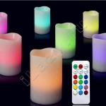 Набор из 3 светодиодных свечей с пультом (12 цветов)